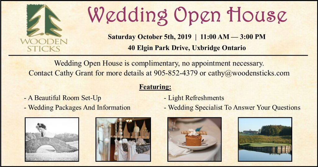 Wooden Sticks Golf Club, Wedding Open House, October 5th Open House, Wedding Packages, Wedding Venue, Uxbridge Weddings, Ontario Weddings