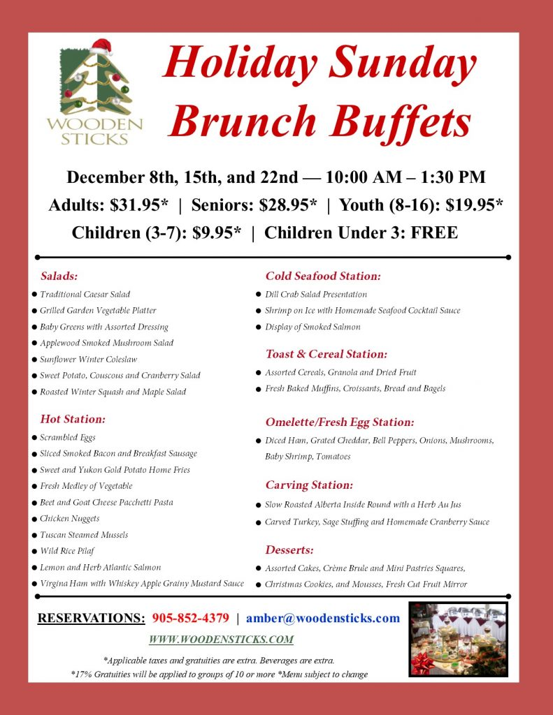 Wooden Sticks Golf Club, Holiday Sunday Brunch Buffets, Holiday Dining Events, Public Dining Events, December Dining Events,