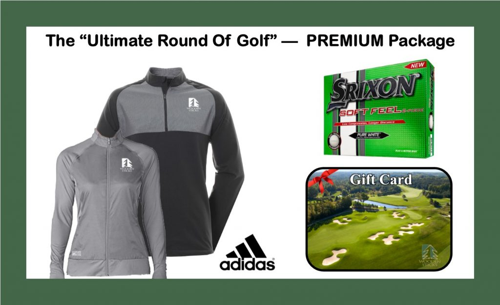 Wooden Sticks Golf Package, Monthly Golf Specials, Ultimate Round Of Golf, Wooden Sticks Adidas Outer Wear, Ultimate PREMIUM Golf Package, Srixon Golf Balls, $20.00 Wooden Sticks Gift Card, Holiday Golf Gifts, Holiday Golf Packages,