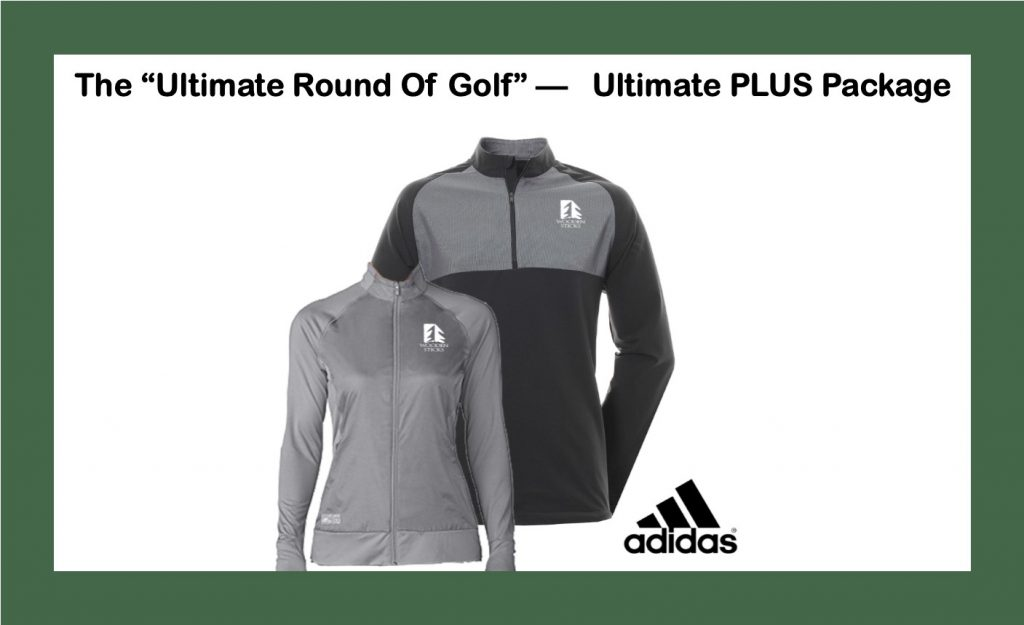 Wooden Sticks Golf Package, Monthly Golf Specials, Ultimate Round Of Golf, Wooden Sticks Adidas Outer Wear, Ultimate PLUS Golf Package, Holiday Golf Gifts, Holiday Golf Packages,