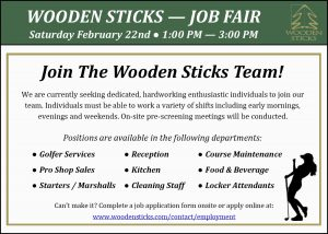 Wooden Sticks Golf Club, 2020 Job Fair, Golf Course Employment, Golf Course Careers, Hospitality Employment, Turf Care Employment, Customer Service Employment, Golf Course Job Fair,
