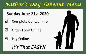 Wooden Sticks Golf Club, Father's Day Takeout Menu, Uxbridge Takeout Menu, Restaurant Takeout