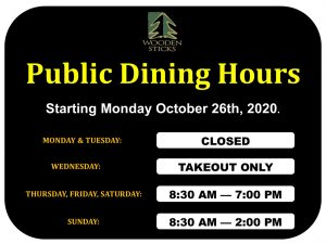 Wooden Sticks Golf Club, Public Dining Hours, Public Dining Fall Hours, Restaurant Hours Of Operations