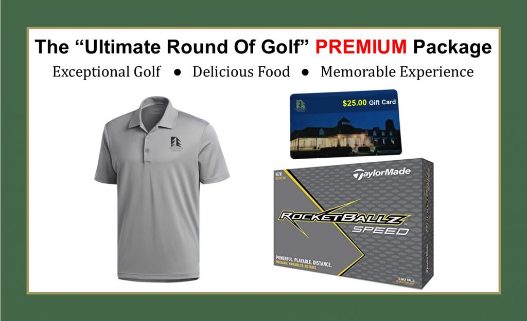 Wooden Sticks Golf Club, The Ultimate Round Of Golf, Ultimate PREMIUM Golf Package, TaylorMade Rocketballz Golf Balls, Adidas Golf Shirt, $25.00 Wooden Sticks Gift Card, Uxbridge Golf Package, Christmas Golf Packages, Birthday Golf Packages, Golf Gift Packages,